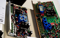 A 500 Series circuit board side-by-side with a 700 Series board.