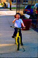 Michael on Bike with Popsicle